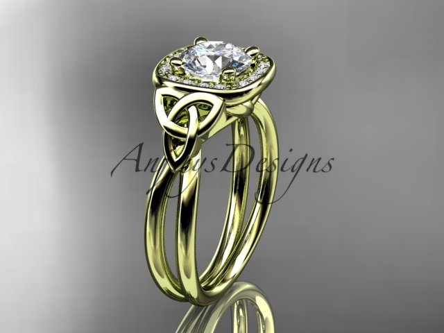 14kt yellow gold diamond celtic trinity knot wedding  ring with a Moissanite center stone CT7330