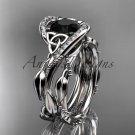 Platinum  celtic trinity knot engagement set with Black Diamond center stone CT764S