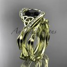 14kt yellow gold celtic trinity knot engagement set with Black Diamond center stone CT764S