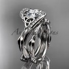 """14kt white gold celtic trinity knot engagement set with """"Forever One"""" Moissanite center stone CT764S"""