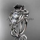 Platinum celtic trinity knot engagement ring with Black Diamond center stone CT769