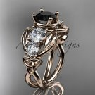 14kt rose gold celtic trinity knot engagement ring with Black Diamond center stone CT769