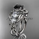 14kt white gold celtic trinity knot engagement ring with Black Diamond center stone CT769