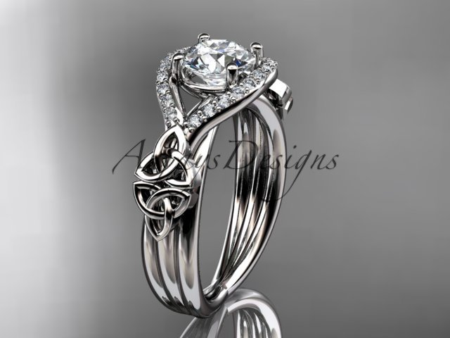 Platinum  celtic trinity knot engagement ring ,wedding ring with Moissanite center stone CT785