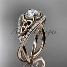 14kt rose gold celtic trinity knot engagement ring with Moissanite center stone CT788
