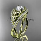 14kt yellow gold celtic trinity knot engagement ring with Moissanite center stone CT788