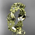 14kt yellow gold diamond flower wedding ring,engagement ring,wedding band. ADLR191