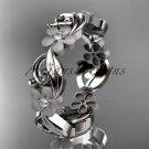 14kt white gold diamond flower wedding ring, engagement ring, wedding band ADLR191