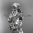 14kt white gold celtic trinity knot bridal ring with a Moissanite center stone CT7124