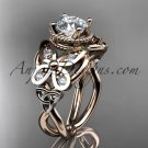 14kt rose gold diamond celtic trinity knot wedding ring,butterfly engagement ring CT7136