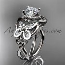 14kt white gold celtic trinity knot butterfly engagement ring with a Moissanite center stone CT7136