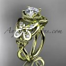 14kt yellow gold celtic trinity knot butterfly engagement ring with a Moissanite center stone CT7136