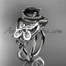 14kt white gold celtic trinity knot wedding ring,butterfly engagement ring, Black Diamond CT7136