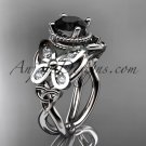 Platinum celtic trinity knot wedding ring, butterfly engagement ring, Black Diamond CT7136