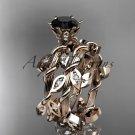 14k rose gold diamond leaf and vine engagement set with a Black Diamond center stone ADLR20S
