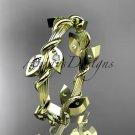 14kt yellow gold diamond leaf wedding ring, engagement ring, wedding band ADLR20B