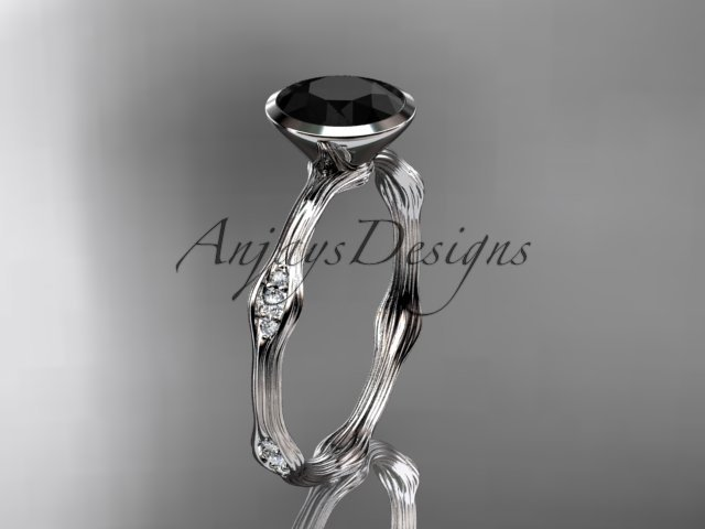 14k white gold diamond vine wedding ring, engagement ring with Black Diamond center stone ADLR21A
