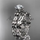 14k white gold diamond vine and leaf engagement set with a Moissanite center stone ADLR35