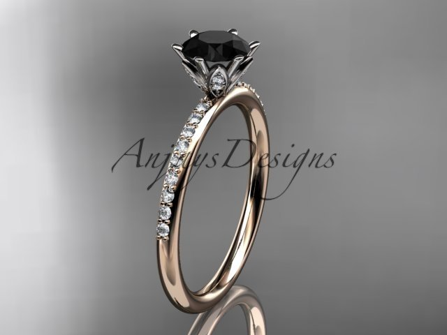 14kt rose gold diamond unique engagement ring with a Black Diamond center stone ADER145
