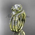 "14k yelow gold diamond engagement set with a ""One"" Moissanite center stone ADER146Swhite"
