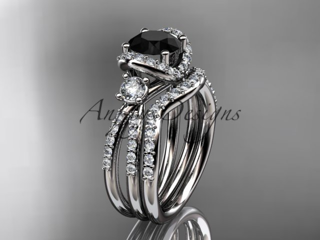 14kt white gold diamond unique engagement set with a Black Diamond center stone ADER146S