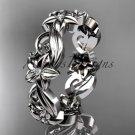 14kt white gold diamond flower wedding ring, engagement ring, wedding band ADLR217B