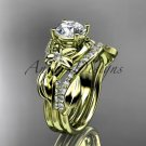 14k yellow gold diamond leaf and vine engagement set with a Moissanite center stone ADLR224S