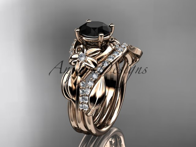 14k rose gold diamond leaf and vine engagement set with a Black Diamond center stone ADLR224S