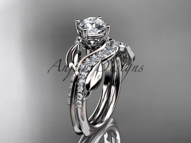 Unique 14k white gold diamond leaf wedding ring, engagement set ADLR225S