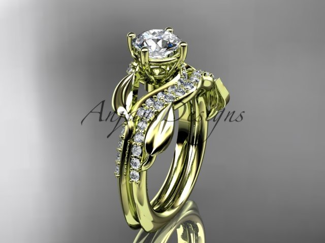 Unique 14k yellow gold diamond leaf wedding ring, engagement set ADLR225S