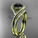 14kt yellow gold diamond wedding ring, engagement set with a Black Diamond center stone ADLR383S