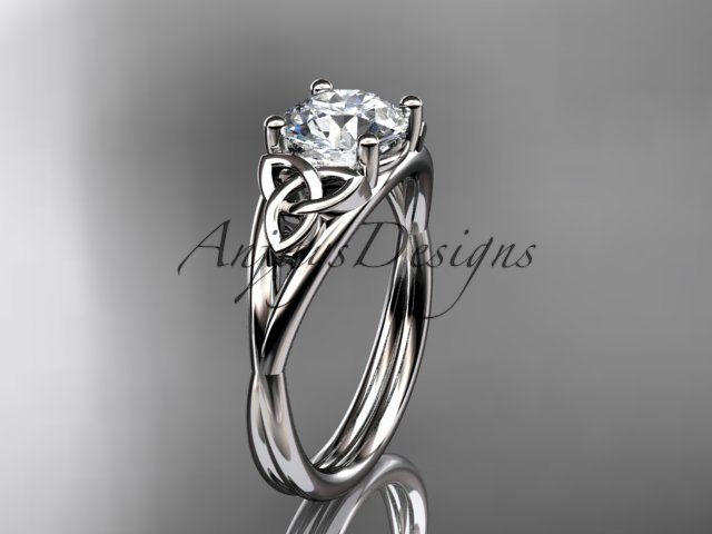 14kt white gold celtic trinity knot engagement ring with a Moissanite center stone CT7189