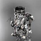 14kt white gold diamond celtic trinity knot engagement ring, Black Diamond CT7215S
