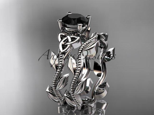 Platinum  celtic trinity knot engagement set with a Black Diamond center stone CT7238S