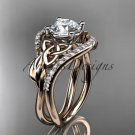 14kt rose gold diamond celtic trinity knot engagement ring with a Moissanite center stone CT7244