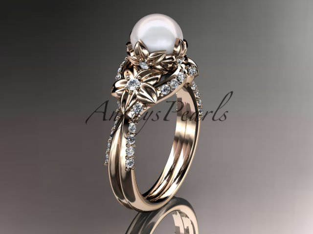 14kt rose gold diamond pearl unique engagement ring, wedding ring AP220