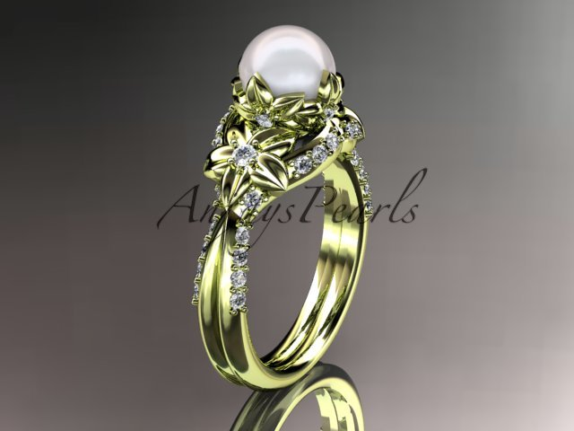 14kt yellow gold diamond pearl unique engagement ring, wedding ring AP220