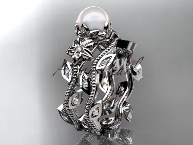 Platinum  diamond pearl unique engagement set, wedding set AP151S