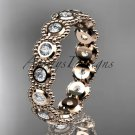 14k rose gold white sapphire flower wedding ring, engagement ring, wedding band ADLR345