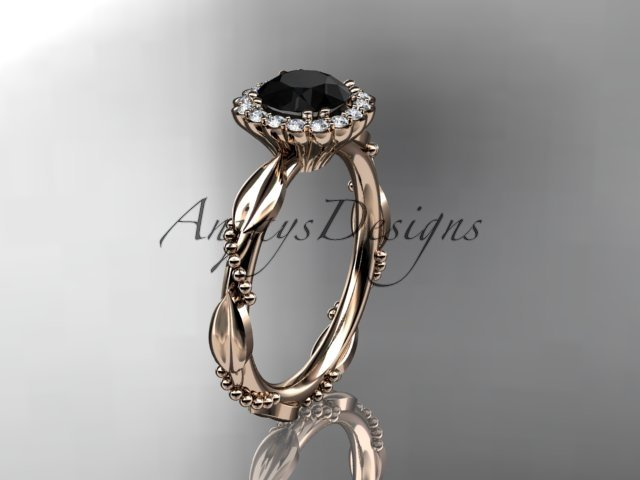14kt rose gold diamond engagement ring with a black diamond center stone ADLR337