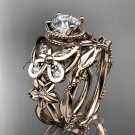 14kt rose gold diamond butterfly engagement set with a Moissanite center stone ADLR136