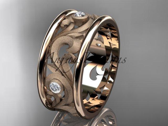 14kt rose gold diamond engagement ring, wedding band ADLR121BB
