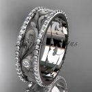 14kt white gold diamond engagement ring, wedding band ADLR414BA