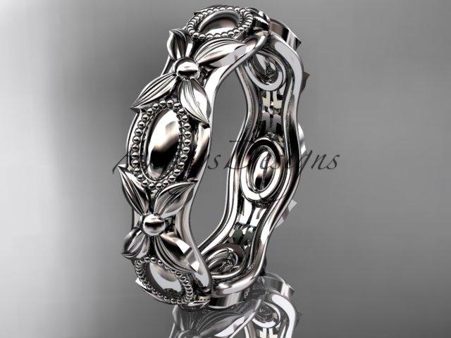 Platinum  leaf and vine wedding band,engagement ring ADLR152G