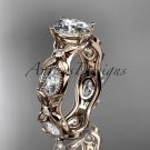 14kt rose gold diamond leaf and vine engagement ring with a Moissanite center stone ADLR152
