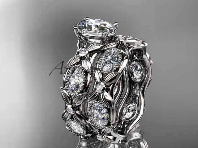 14kt white gold diamond leaf and vine engagement set with a Moissanite center stone ADLR152S