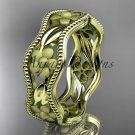 14k yellow gold flower wedding ring,engagement ring, wedding band. ADLR190G