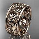 14kt rose gold leaf and vine wedding band, engagement ring ADLR150G