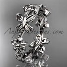 Platinum  floral butterfly wedding ring, engagement ring, wedding band ADLR139G