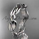 Platinum  diamond leaf and vine wedding ring,engagement band ADLR58B
